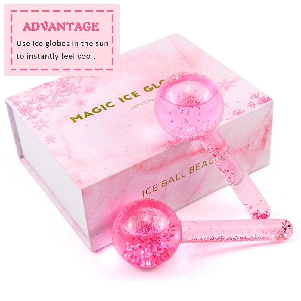 Vendita à l'ingrossu Attrezzatura di Bellezza Roller Magic Massager Faciale Globi di Ghiacciu Rosa Per u visu